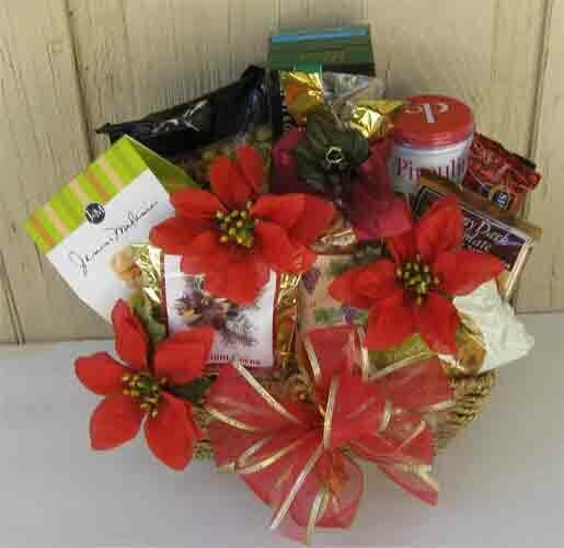 Holiday Gift Basket - Poinsettias, Food, and You