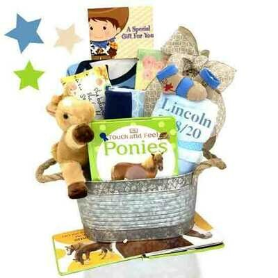 Cowboy Baby Gift Basket - Cowgirl Baby Gift Basket