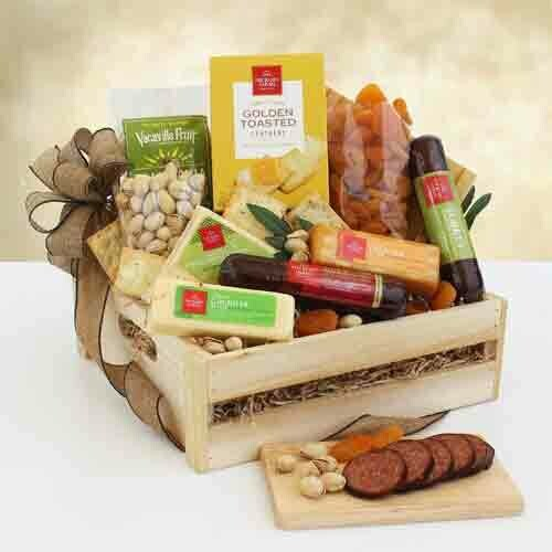 Sausage and Cheese in Wooden Crate
