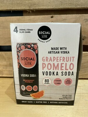 SoCial LITE Field Grapefruit Pomelo Vodka Soda 4pk