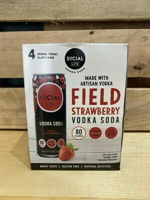 SoCial LITE Field Strawberry Vodka Soda 4pk