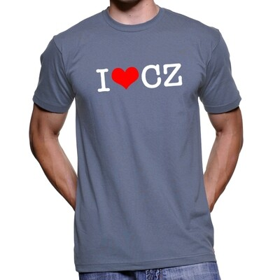 I Love CZ Steel Blue Red Men's T-Shirt