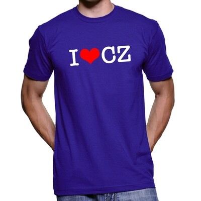 I Love CZ Royal Blue Red Men's T-Shirt