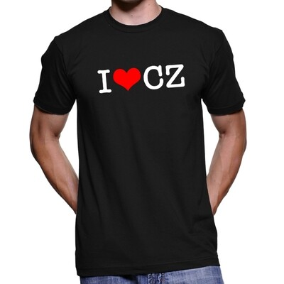 I Love CZ Black Red Men's T-Shirt