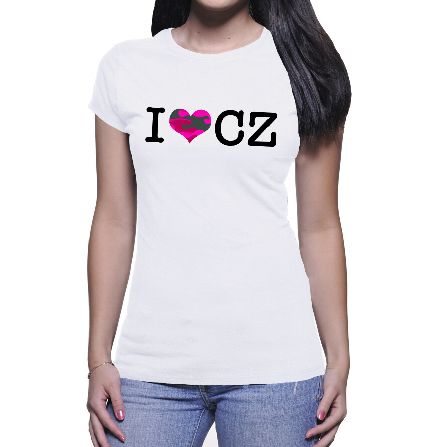 I Love CZ White Pink Camo Women's T-Shirt