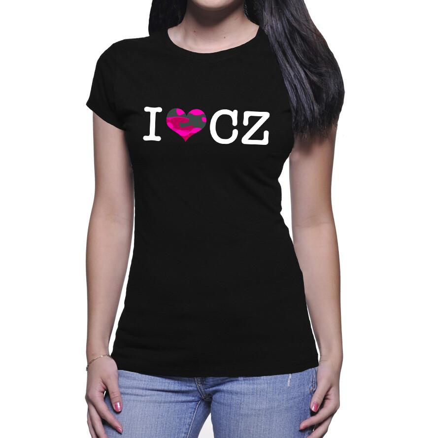 I Love CZ Black Pink Camo Women's T-Shirt