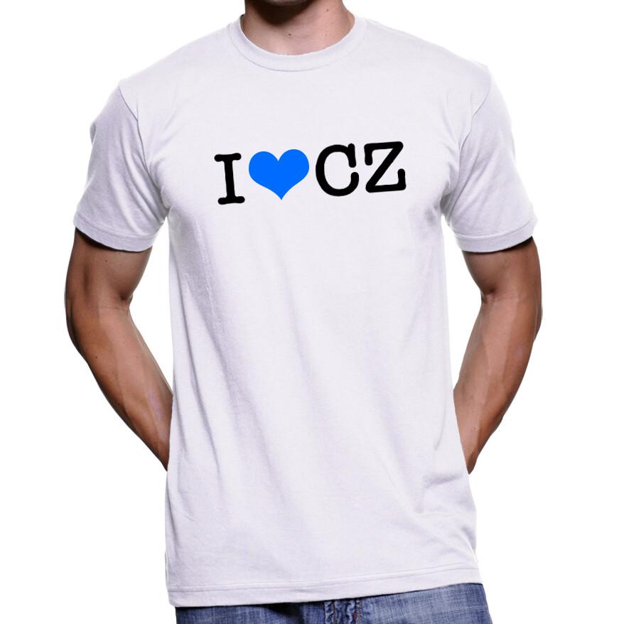 I Love CZ White Blue Men's T-Shirt
