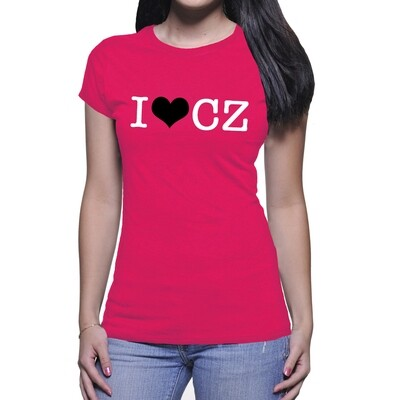I Love CZ Dark Pink Black Women's T-Shirt