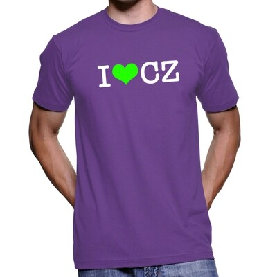 I Love CZ Purple Green Men's T-Shirt