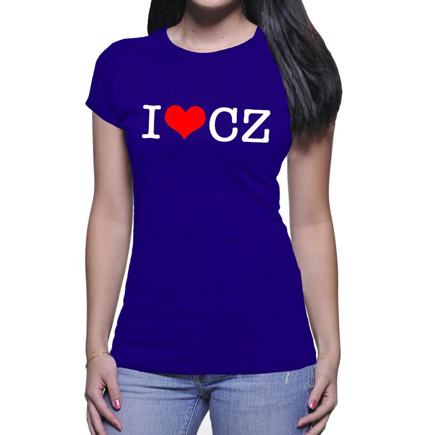 I Love CZ Royal Blue Red Women's T-Shirt