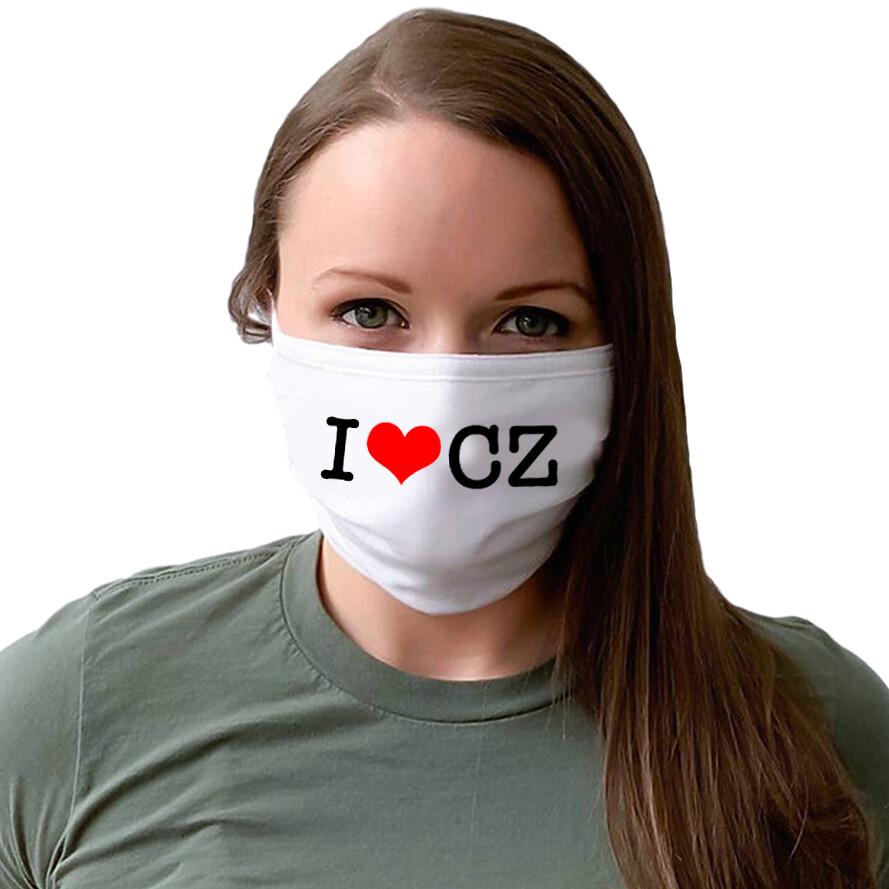 I Love CZ White Unisex Face Mask