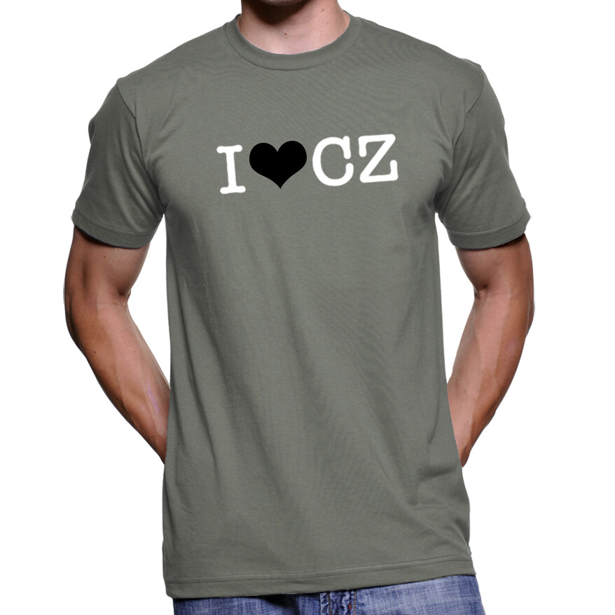 I Love CZ Asphalt Grey Black Men's T-Shirt