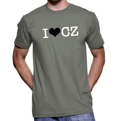 I Love CZ Asphalt Grey Black Men's T-Shirt
