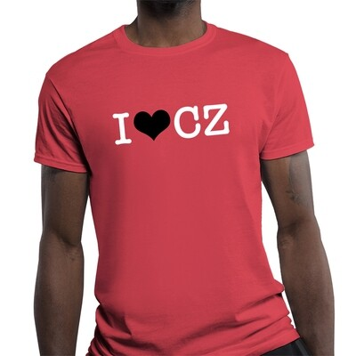 I Love CZ Fitted Heather Red Black Men's T-Shirt