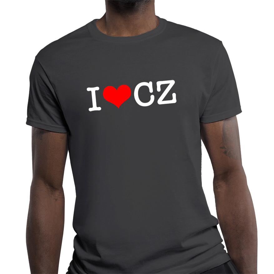 I Love CZ Fitted Heather Black Red Men's T-Shirt