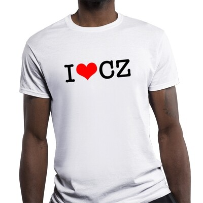 I Love CZ Fitted White Red Men's T-Shirt