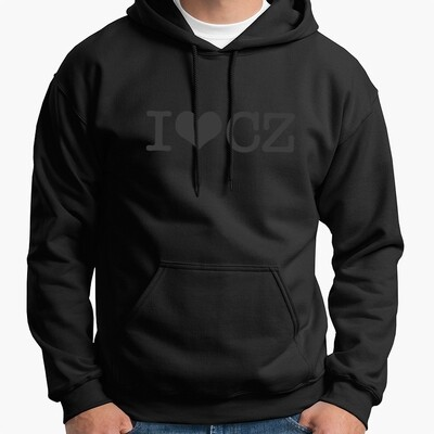 I Love CZ Black Black Men's Hoodie
