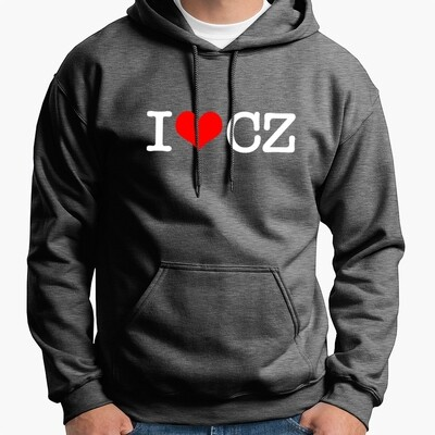 I Love CZ Grey Red Men's Hoodie