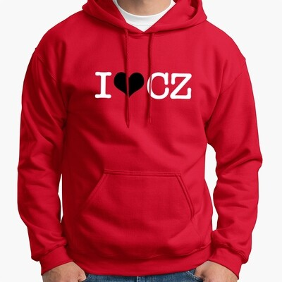 I Love CZ Red Black Men's Hoodie