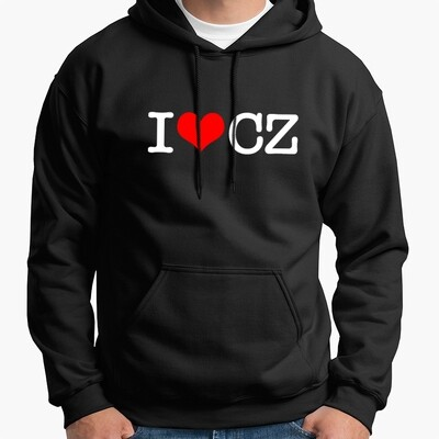I Love CZ Black Red Men's Hoodie