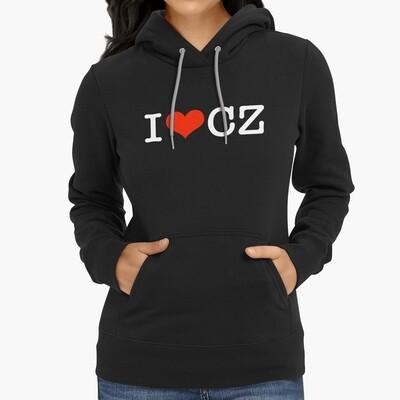 I Love CZ Black Red Women's Hoodie