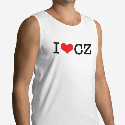 I Love CZ White Red Men's Tank Top