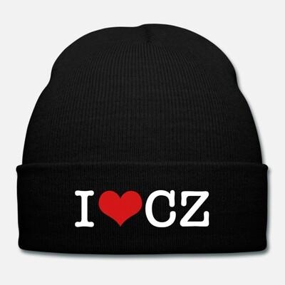 I Love CZ Black Red Unisex Knit Cap