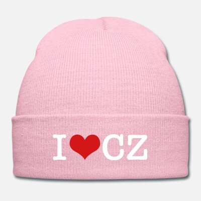 I Love CZ Pink Red Unisex Knit Cap