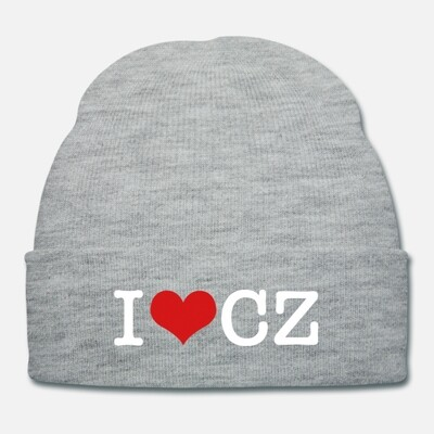 I Love CZ Heather Grey Red Unisex Knit Cap