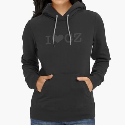 I Love CZ Black Black Women's Hoodie