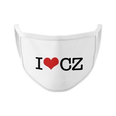 I Love CZ White White Unisex Face Mask