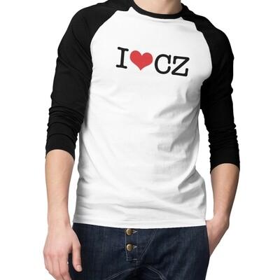 I Love CZ Black Red Baseball Men's T-Shirt