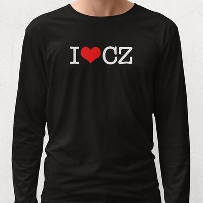 I Love CZ Black Red Long Sleeve Men's T-Shirt