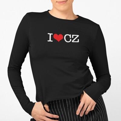 I Love CZ Black Red Long Sleeve Women's T-Shirt