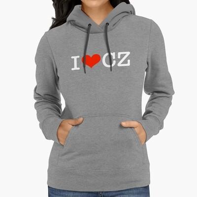 I Love CZ Heather Grey Red Women's Hoodie
