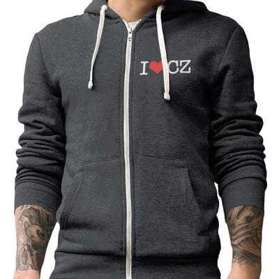 I Love CZ Charcoal Grey Red Fleece Zip Hoodie