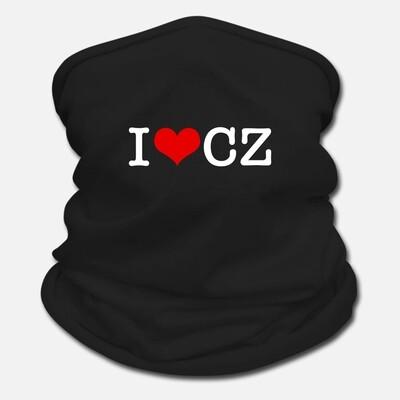 I Love CZ Black Red Unisex Neck Gaiter Scarf