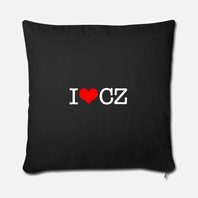 I Love CZ Black Red Throw Pillow Cover