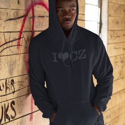 I Love CZ Black Black Men's Hoodie