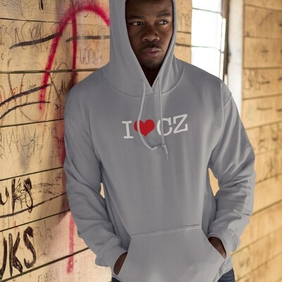 I Love CZ Charcoal Grey Red Men's Hoodie