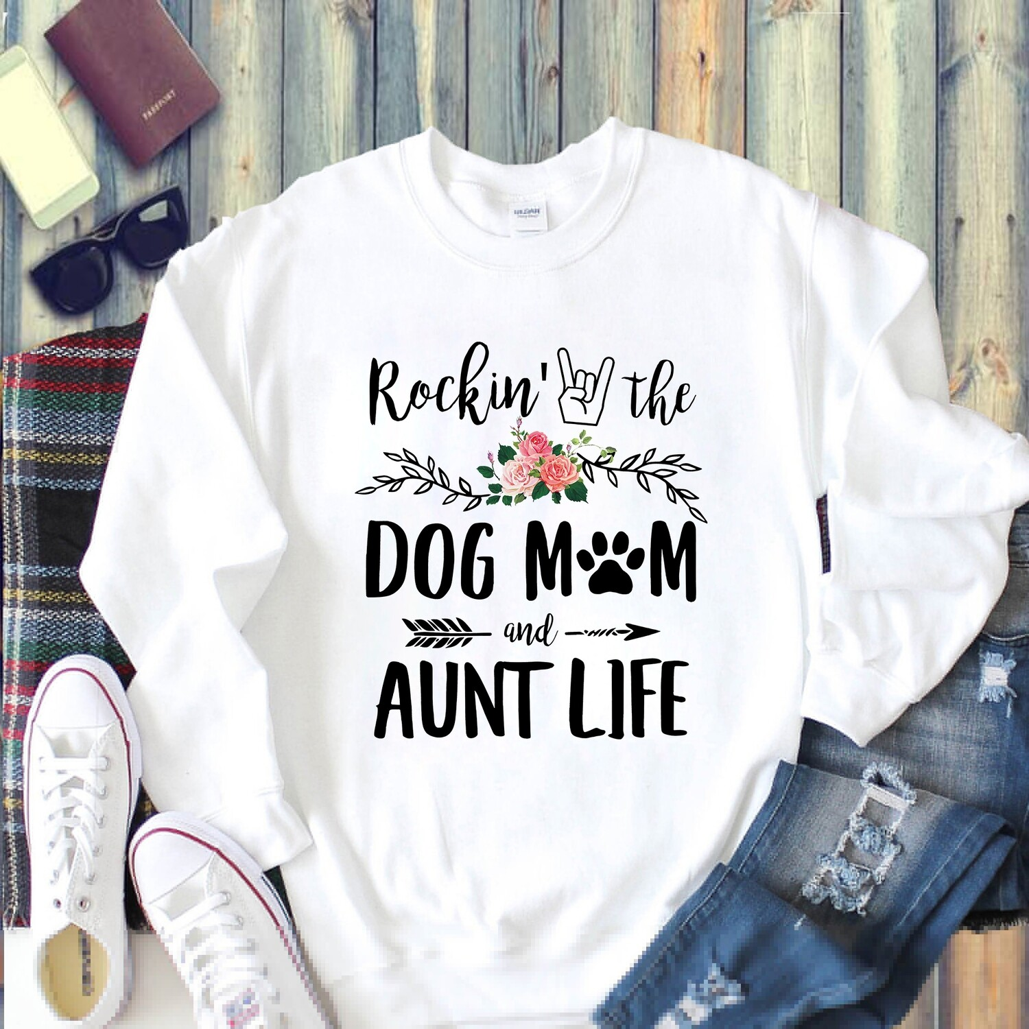 Rockin' The Dog Mom and Aunt Life T Shirt gift for Her Mommy Mama Grandma Mother's Day