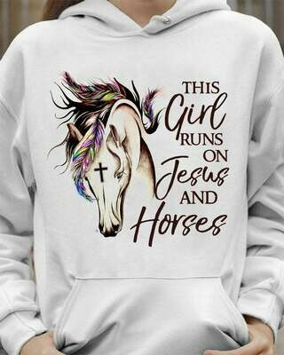 This Girl Runs On Jesus And Horses T Shirt Gifts For Horse Lovers Animal Lover T shirt V Neck Tank Top Sweatshirt Hoodie