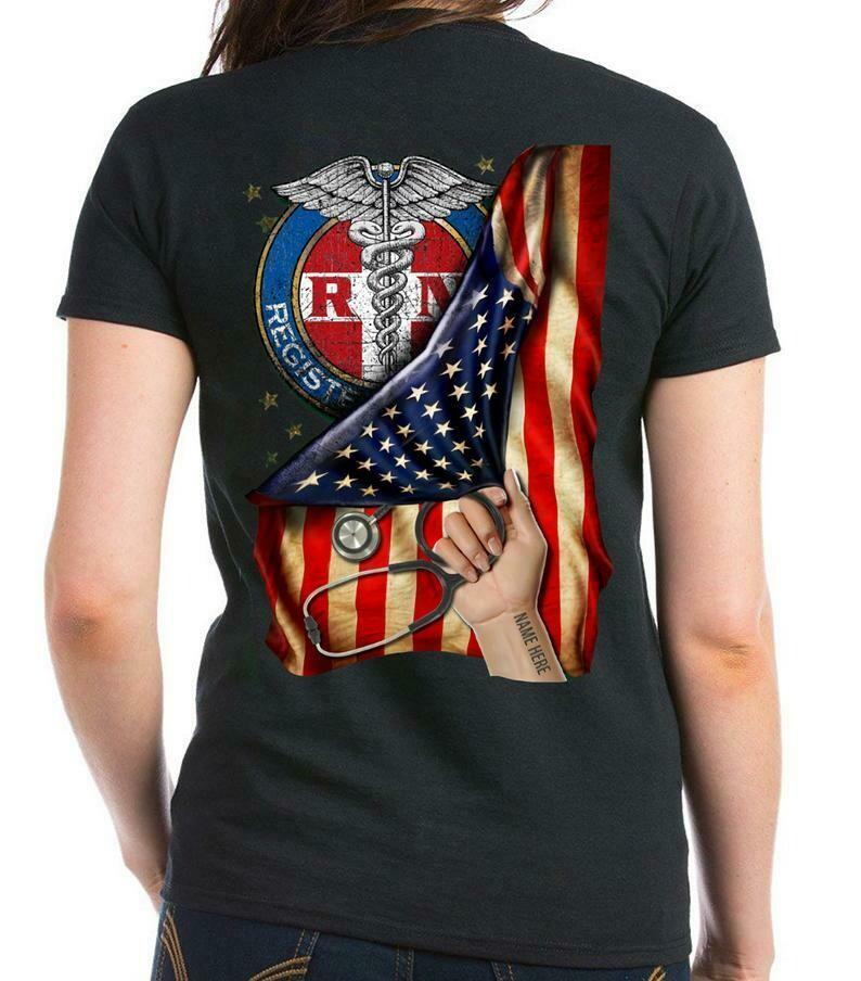 Personalized shirt,American Nurse Shirt, American Flag Nurse,Nurse Appreciation, Nurse T Shirt, Nurse Gift Ideas, Nurse Hero-back