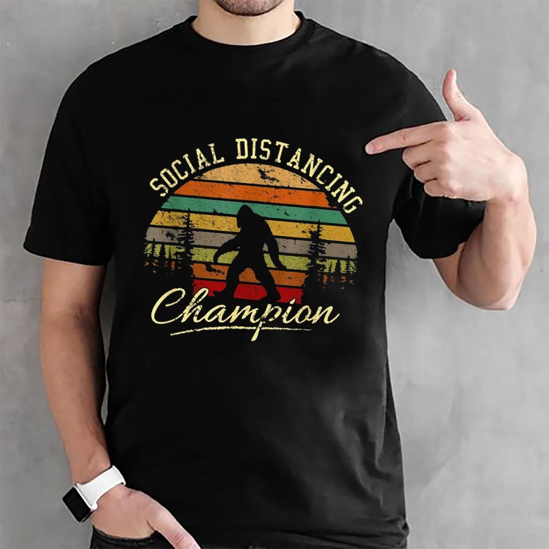 Bigfoot Social Distancing Champion Shirt Vintage Bigfoot Sasquatch Yeti T-shirt Gift For Men Women Anti Social Tee