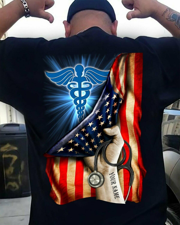 Personalized shirt,American Nurse Shirt, American Flag Nurse,Nurse Appreciation, Nurse T Shirt, Nurse Gift Ideas, Nurse Hero-back2