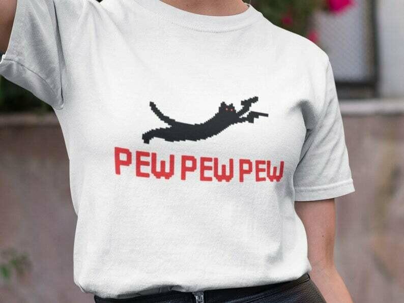 Pew Pew Shirt, Black Cat Shirt, Cat Gun, Gun Lover Gift, Cat Lover Shirt, Funny Cat Shirt, Gun Shirt, Top Gun Shirt, Crazy Cat Lady Shirt