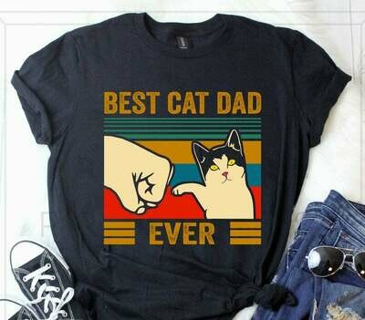 Vintage Best Cat Dad Ever Bump Short-Sleeve Unisex T-Shirt Hoodie Sweatshirt V-neck Tank Top, Gift for her, Gift for him, father's day gifts, mother's day gifts, cat lover shirt
