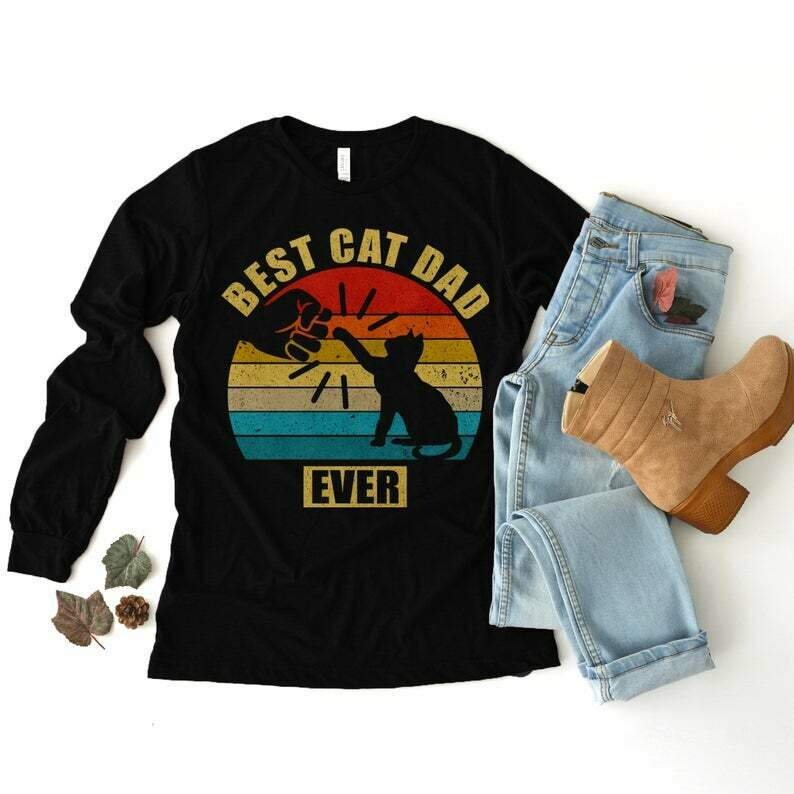 Vintage Best Cat Dad Ever Bump   Unisex Long Sleeve Tee Hoodie Sweatshirt V-neck Tank Top, Gift for her, Gift for him, father's day gifts, mother's day gifts, cat lover shirt