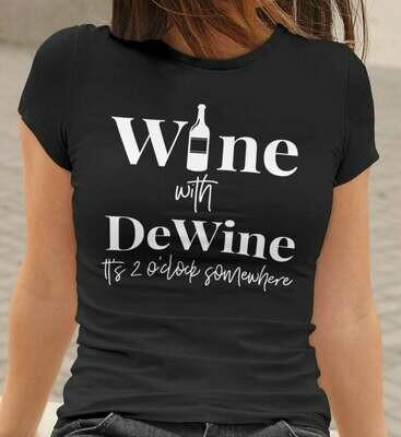 Wine with DeWine with Bottle (white) Unisex Short Sleeve V-Neck T-Shirt