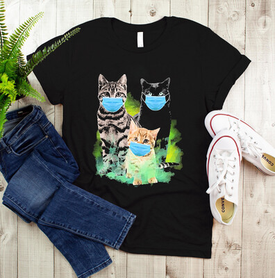 Cats with Face Mask 2021 The year when sht got real quarantined Gettin Real Funny Toilet Paper Apocalypse gift for cat mom T Shirt